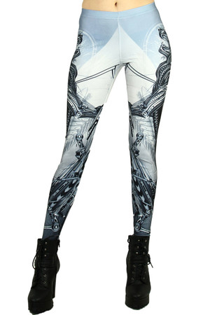 Front side image of Wholesale Graphic Printed Cyborg Lion Leggings