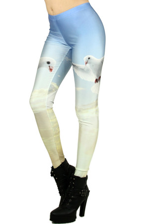 Left Side Image of Wholesale Premium Graphic Dove Leggings