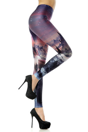 Right Side Image of Wholesale Premium Graphic New World Horizon Leggings