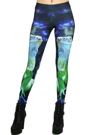 Front side image of Wholesale Premium Graphic Iguana Leggings