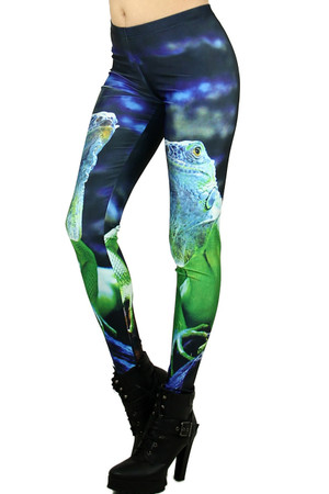 Left Side Image of Wholesale Premium Graphic Iguana Leggings