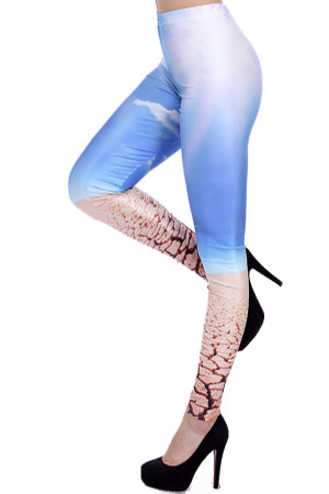 Left Side Image of Wholesale Premium Graphic Desert Leggings