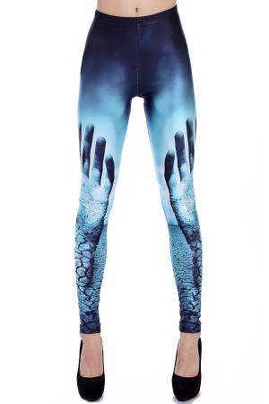 Front side image of Wholesale Premium Graphic Hands Raised Leggings