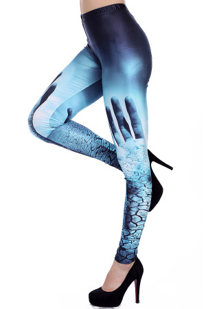 Left Side Image of Wholesale Premium Graphic Hands Raised Leggings