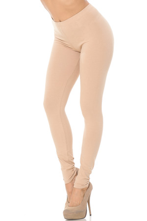 Front Beige Wholesale USA Full Length Cotton Leggings