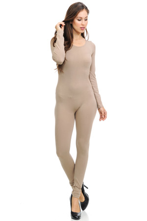 Front side image of Wholesale Basic Full Nylon Spandex Jumpsuit