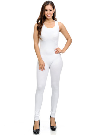 Front side image of Wholesale Basic Nylon Spandex Jumpsuit
