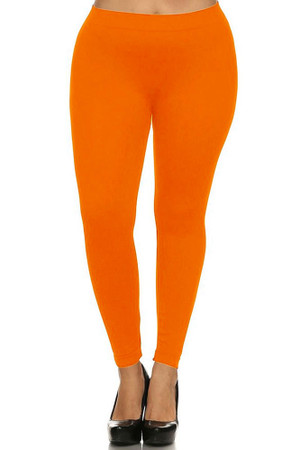 Wholesale Full Length Neon Nylon Spandex Plus Size Leggings