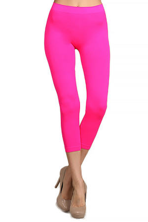 Front side image of Wholesale Capri Length Neon Nylon Spandex Leggings