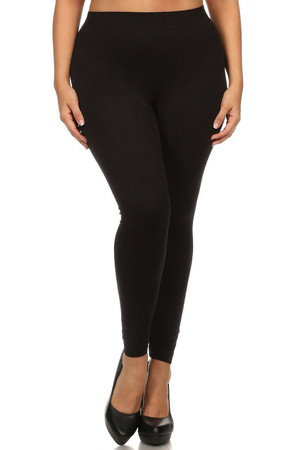 Front side  image of Black Full Length Nylon Spandex Leggings - Plus Size