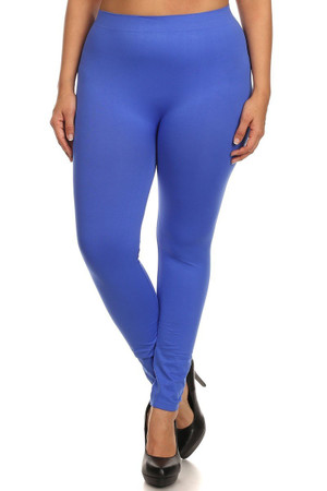 Front side image of Royal Blue Full Length Nylon Spandex Leggings - Plus Size