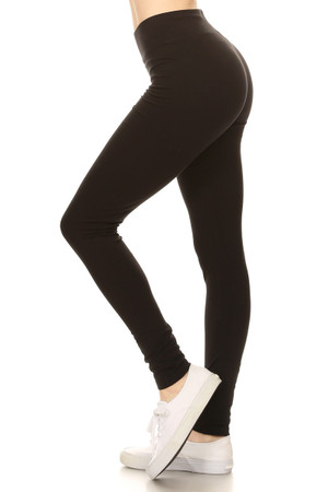 Left Side image of Black Wholesale High Waisted Cotton Sport Leggings