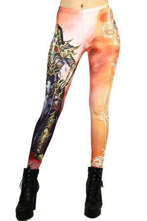 Wholesale Graphic Print Female Elf Warrior Leggings