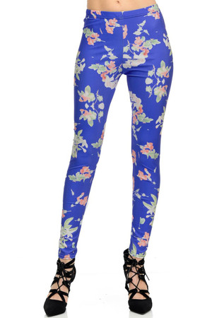 Wholesale Graphic  Blue Blooming Flowers Leggings