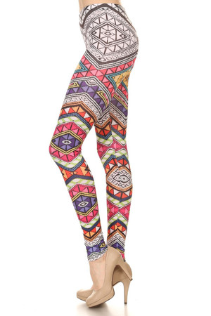 Left side leg image of P-3491 - Wholesale Made in the USA Graphic Print Leggings