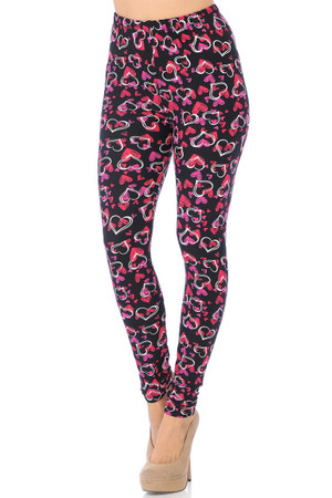 Wholesale Buttery Soft Double Heart Leggings