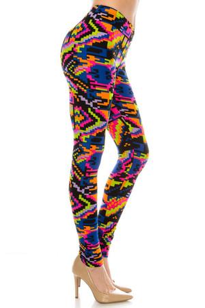 Wholesale Buttery Soft Pixel Rainbow Leggings