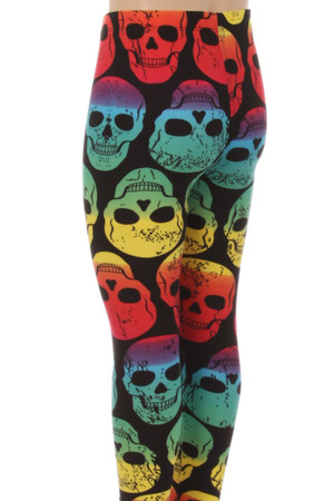 Wholesale Buttery Soft Rainbow Skull Kids Leggings