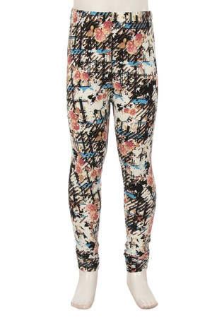 Wholesale Buttery Soft Scratch Floral Kids Leggings