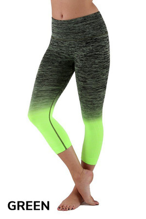 Green Wholesale Ombre Fusion Workout Capris