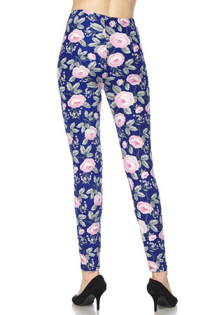 Wholesale Buttery Soft Pink on Blue Floral Blossom Leggings