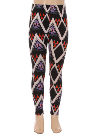 Wholesale Buttery Soft Chevron Tribal Kids Leggings