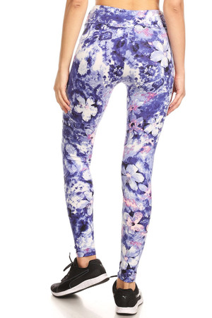 Wholesale Premium Brushed High Waisted Indigo Floral Sport Leggings