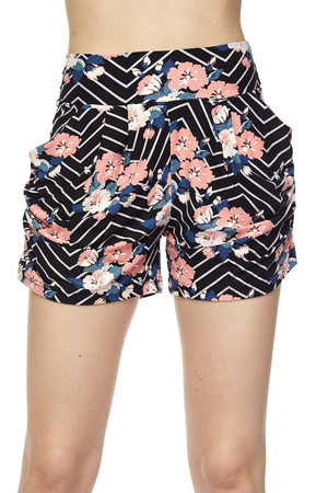 Wholesale Buttery Soft Floral Angolato Harem Shorts