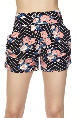 Wholesale Buttery Soft Floral Angolato Harem Shorts