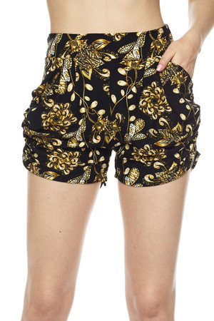 Wholesale Buttery Soft Golden Wreath Harem Shorts
