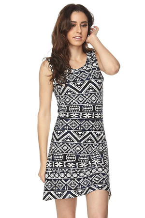 Wholesale Buttery Soft Aztec Tribal Criss Cross Strap Mini Dress