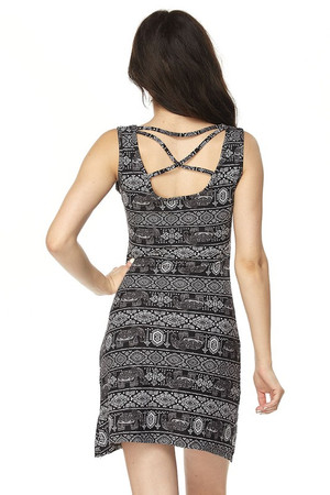 Wholesale Buttery Soft Tribal Elephant Criss Cross Strap Mini Dress