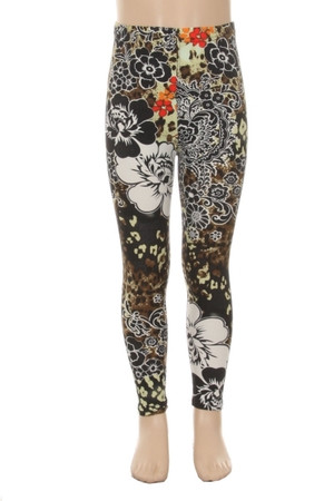 Wholesale Buttery Soft Floral Leopard Kid's Leggings