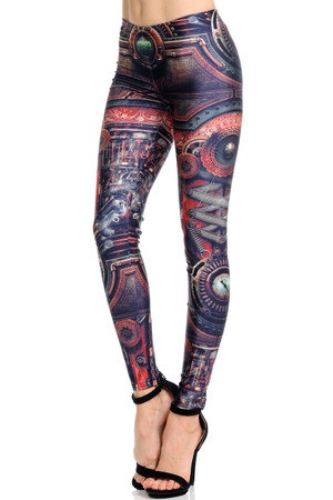 Wholesale Premium Graphic Print Dominion Steampunk Leggings