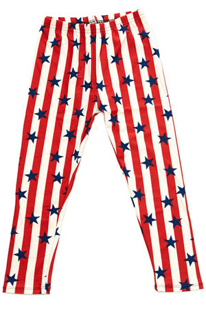 Wholesale Buttery Soft Vertical Stripes USA Flag Kids Leggings