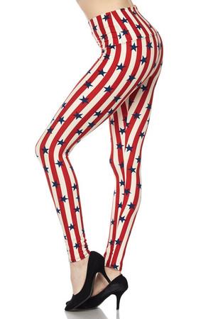 Wholesale Buttery Soft High Waist Vertical Stripes USA Flag Leggings