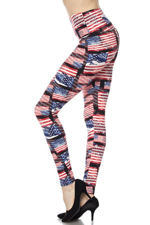 Wholesale Buttery Soft High Waisted 3D Hologram USA Flag Leggings