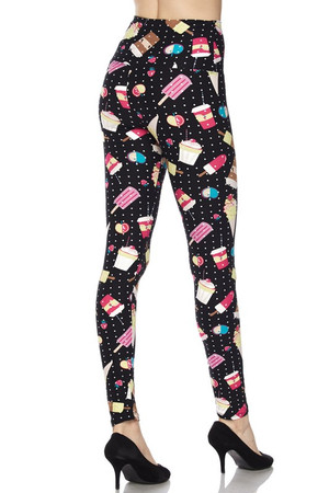Wholesale Buttery Soft Summer Treats High Waisted Leggings - White Mini Dots