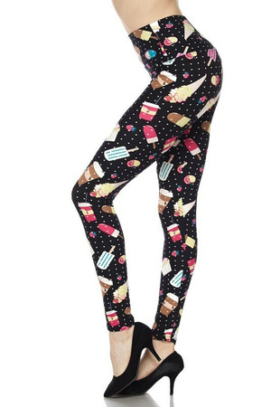 Wholesale Buttery Soft Summer Treats High Waisted Plus Size Leggings - White Mini Dots