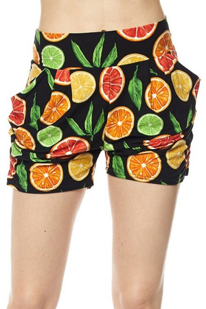 Wholesale Buttery Soft Citrus Fruit Harem Shorts