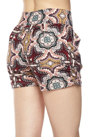Wholesale Buttery Soft Pink Motif Harem Shorts