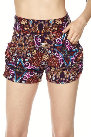 Wholesale Buttery Soft Fuchsia Glow Motif Harem Shorts