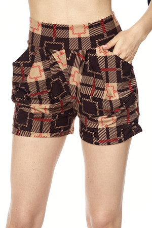 Wholesale Buttery Soft Dark Moda Squares Mocha Harem Shorts