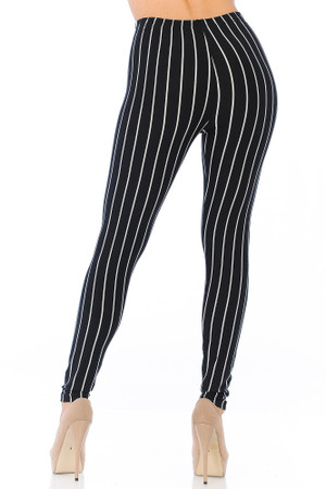 Wholesale Buttery Soft Vertical Black Pinstripe Leggings