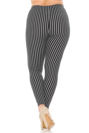 Wholesale Buttery Soft Vertical Black Pinstripe Plus Size Leggings