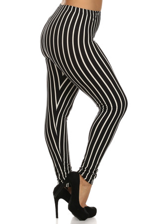 Side Image of Wholesale Buttery Soft Vertical Black Pinstripe Plus Size Leggings - 3X-5X