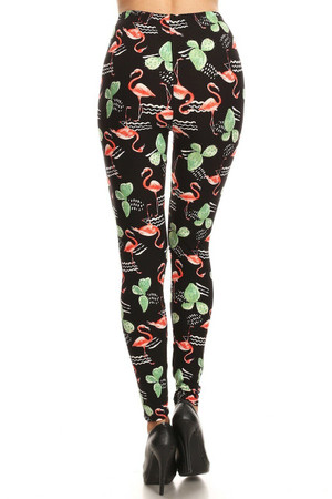 Wholesale Buttery Soft Fabulous Flamingo Plus Size Leggings
