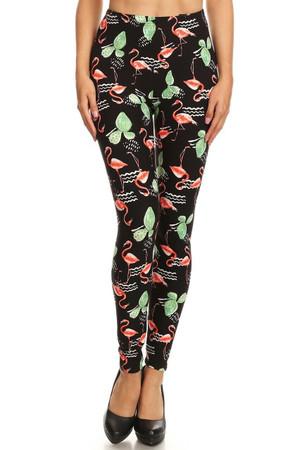 Wholesale Buttery Soft Fabulous Flamingo Plus Size Leggings