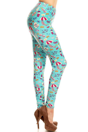 Wholesale Buttery Soft Summer Beach Party Plus Size Leggings - LIMITED EDITION