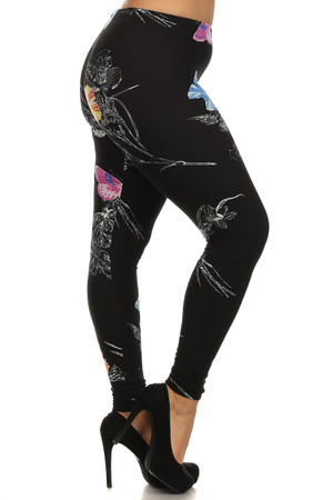 Wholesale Buttery Soft Beautiful Butterfly Plus Size Leggings